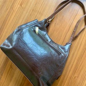 Vintage MONDANI Brown Leather Gold Buckle Bag